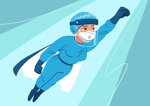 Young woman wearing medical personal protection suit with face shield, mask, gloves flying in superhero pose. Front line essential workers, medical staff, doctors fighting coronavirus pandemic.