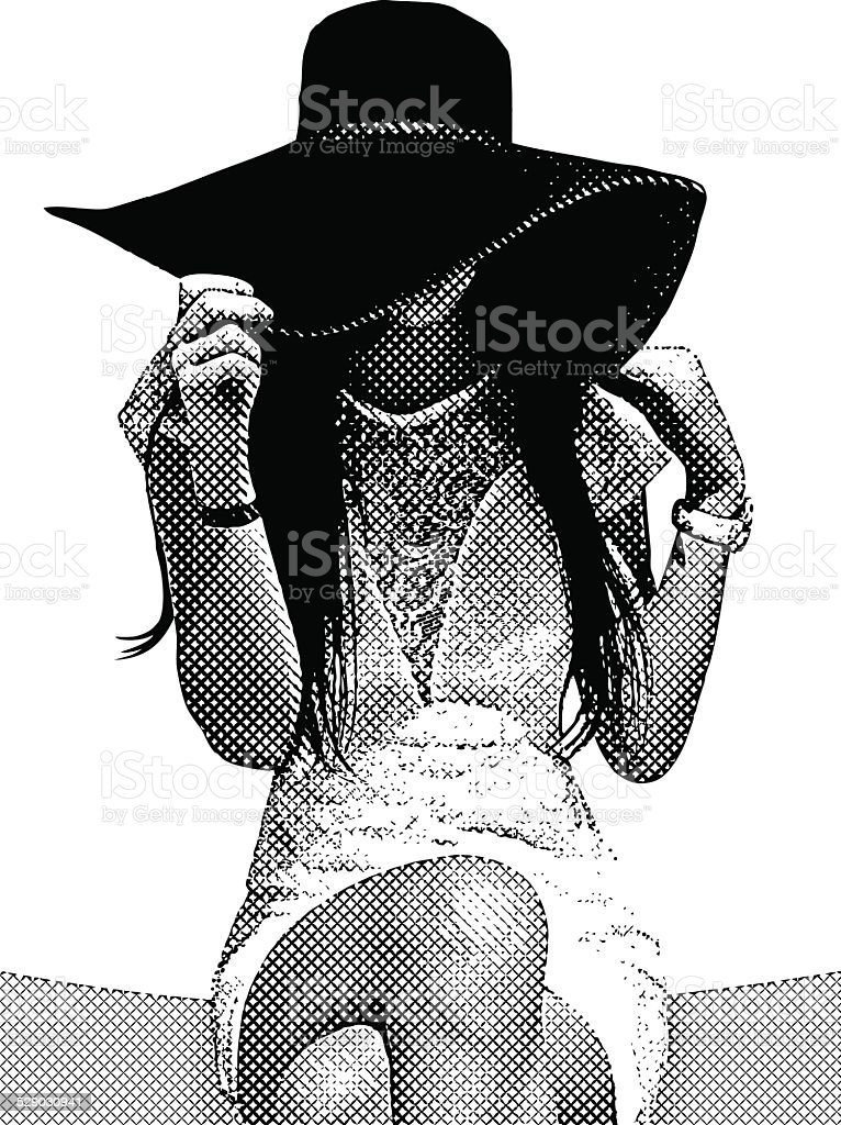 Young Woman Wearing Sun Hat vector art illustration