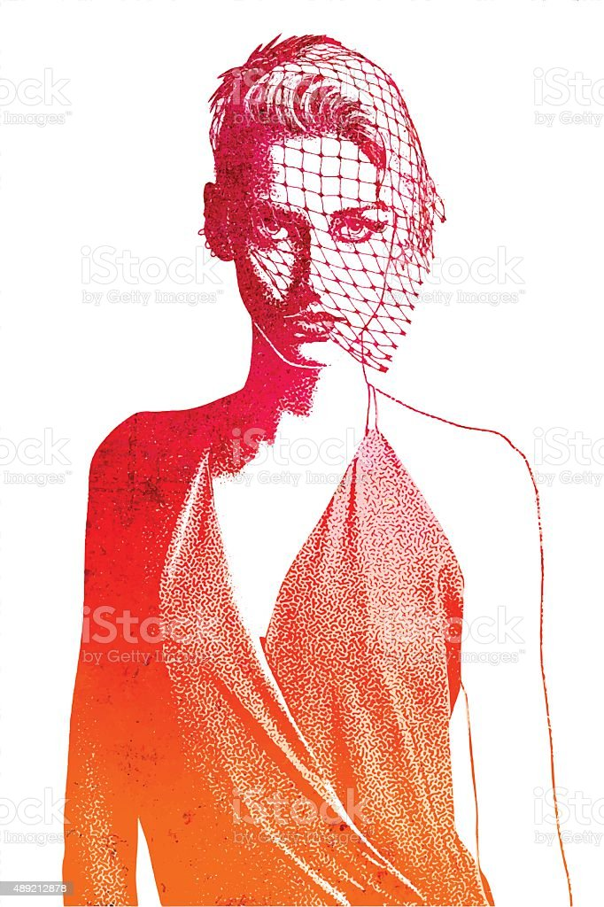 Young Woman Wearing Vintage Clothes, isolated on white vector art illustration