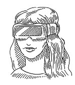 Young Woman Wearing VR Glasses Drawing