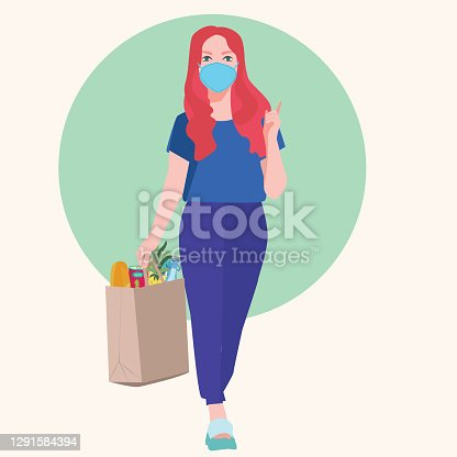 istock young woman wears medical mask holds a paper bag 1291584394