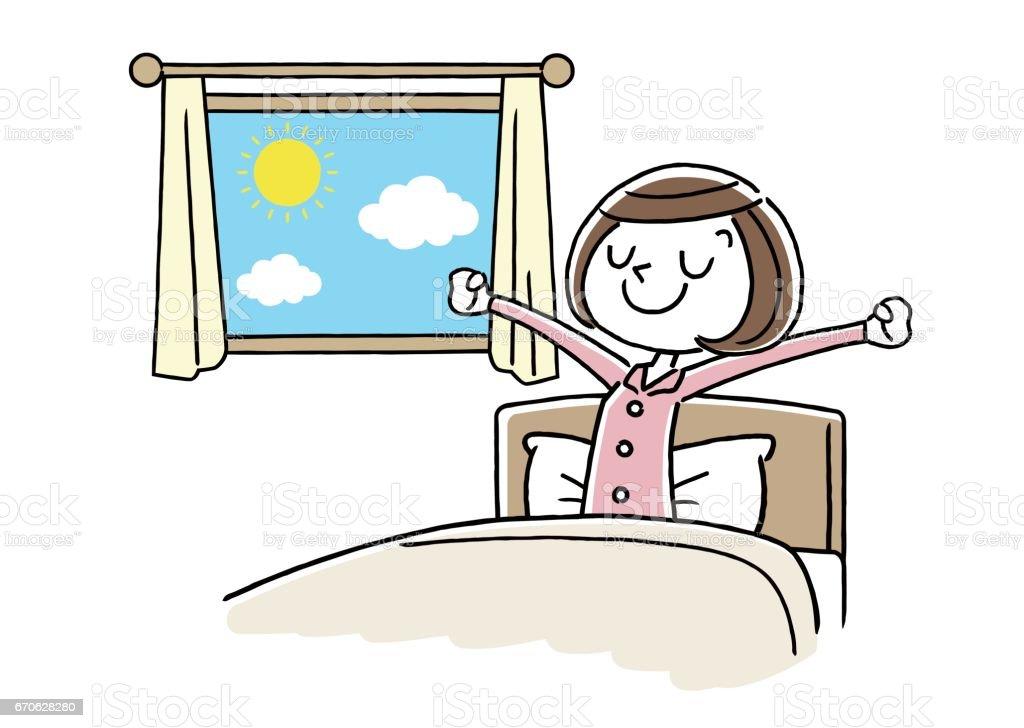 eine junge frau die morgens aufstehen passiert stock vektor art und mehr bilder von eine frau. Black Bedroom Furniture Sets. Home Design Ideas