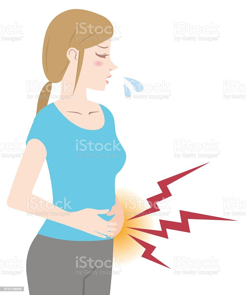 young woman who have a stomachache or period pain vector art illustration