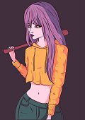 istock Young woman with a baseball bat. Girl with purple hair posing with a yellow crop top and blue jeans. 1293639371