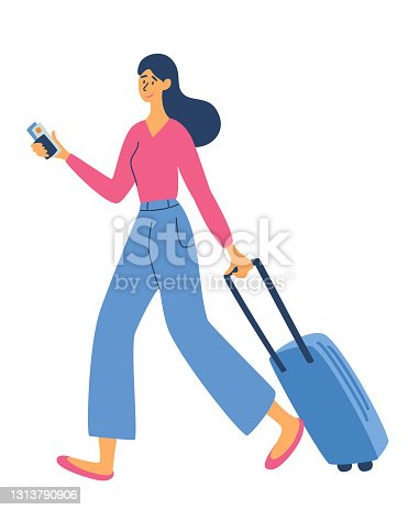 istock Young woman with a luggage bag. Time to Travel. Recreation and tourism. Journey. Business topics -business trip, web template, header. Traveling Concept. Vector Flat Illustration 1313790906
