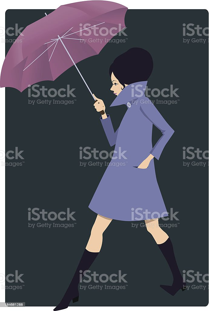 Young woman with an umbrella royalty-free young woman with an umbrella stock vector art & more images of 1960