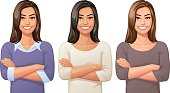 Vector illustration of a confident pretty young woman, in three variations and ethnicities, having her arms crossed, looking at the camera.