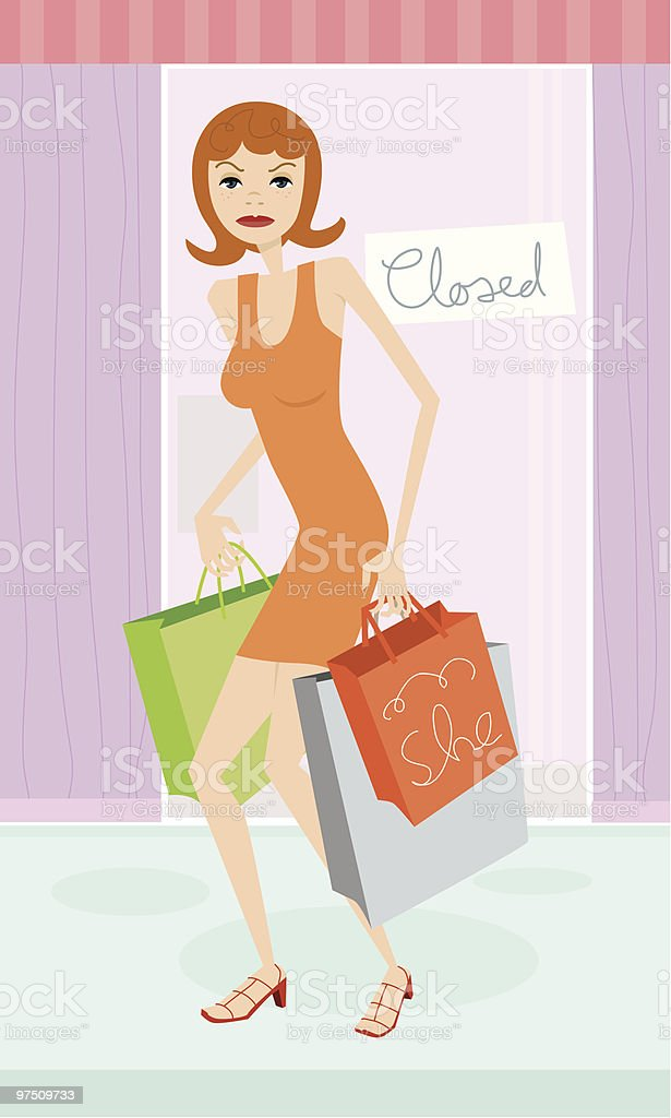 Young woman with bags in front of a closed shop royalty-free young woman with bags in front of a closed shop stock vector art & more images of adult