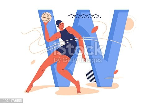 istock Young woman with ball training during water polo game and large capital letter W decorated with geometric shapes and leaves 1294478555