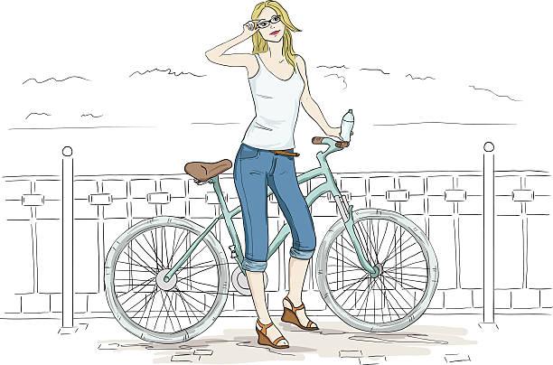 junge frau mit fahrrad skizze. hübsches mädchen in blau jeans - lustige fahrrad stock-grafiken, -clipart, -cartoons und -symbole