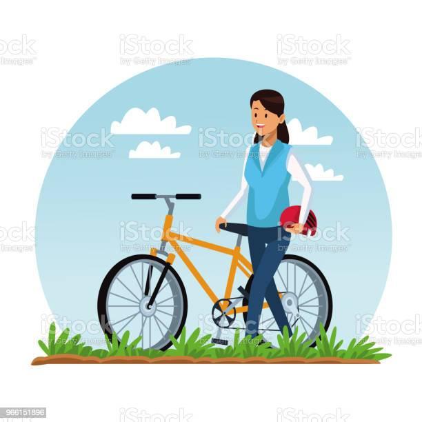 Ung Kvinna Med Cykel-vektorgrafik och fler bilder på Avkoppling