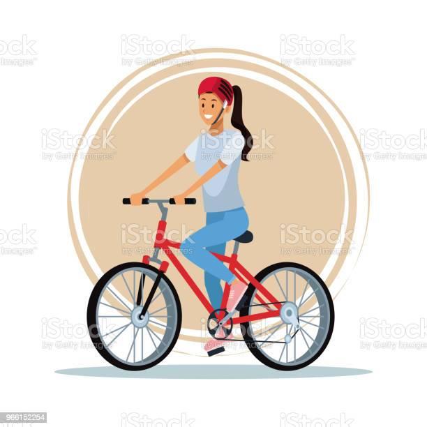 Молодая Женщина С Велосипедом — стоковая векторная графика и другие изображения на тему Байкер