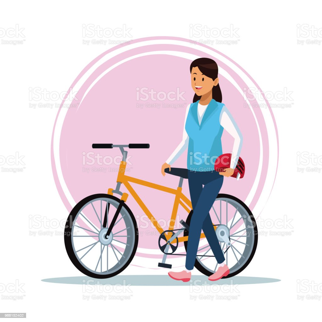Young woman with bike - arte vettoriale royalty-free di Abbigliamento sportivo
