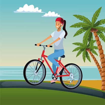 Young Woman With Bike — стоковая векторная графика и другие изображения на тему Байкер