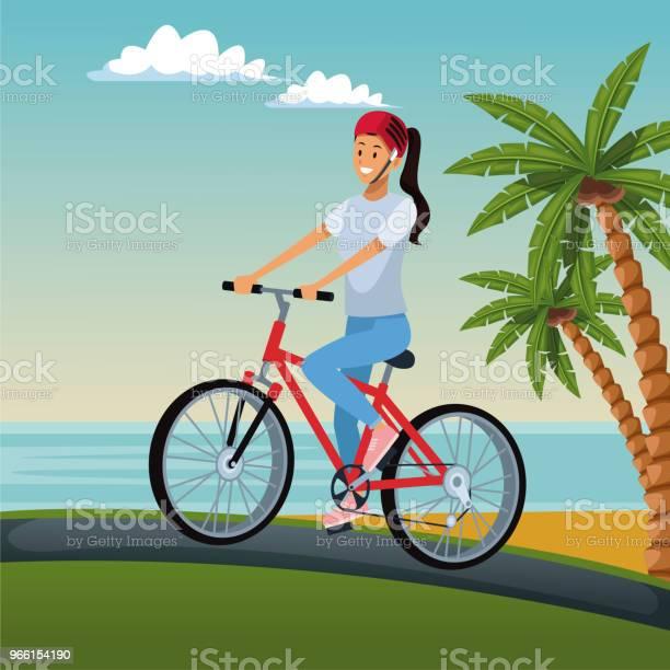 Giovane Donna In Bici - Immagini vettoriali stock e altre immagini di Abbigliamento sportivo