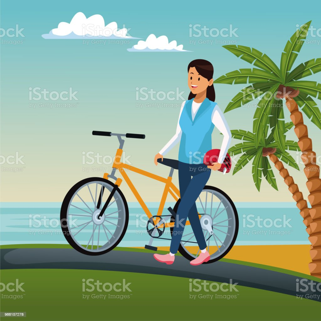 Young woman with bike - Royalty-free Beach stock vector