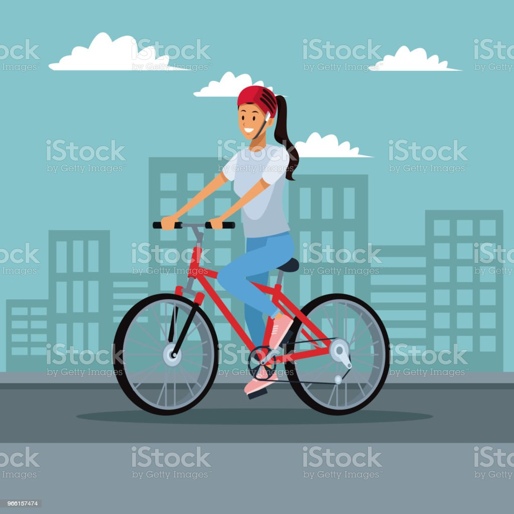 Young woman with bike - Векторная графика Байкер роялти-фри