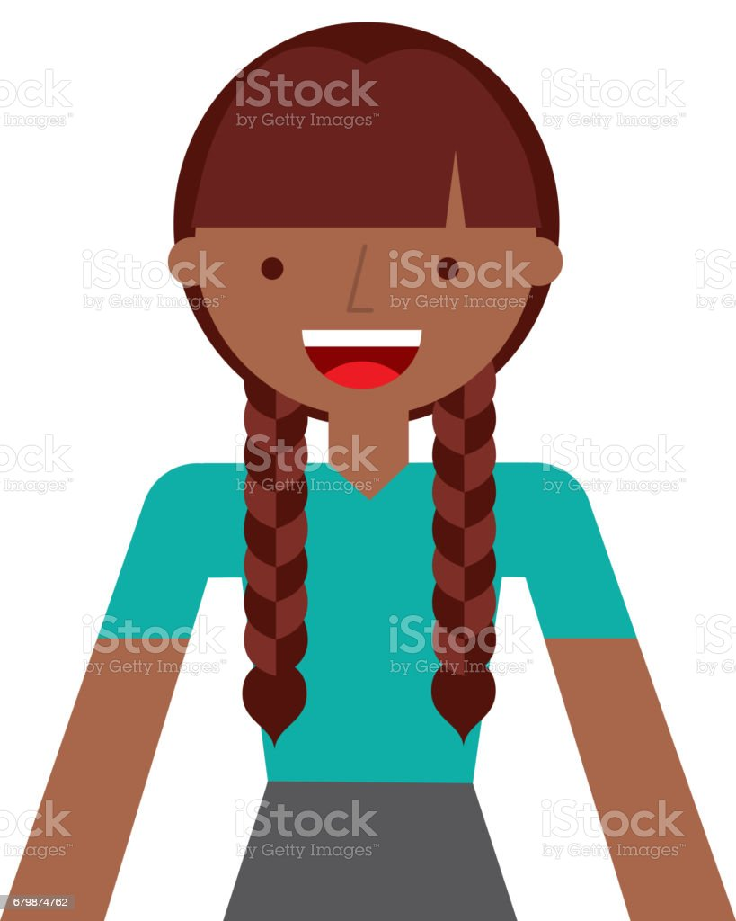 young woman with braids vector art illustration