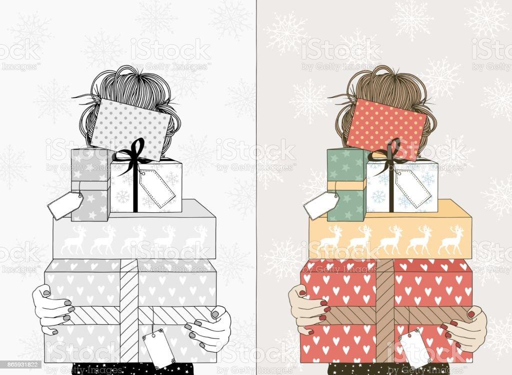 Junge Frau Mit Weihnachtsgeschenke Vektor Illustration 865931822 ...