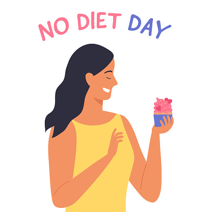 Young woman with cupcake. International No diet day. Happy character on white background. Vector illustration in flat style