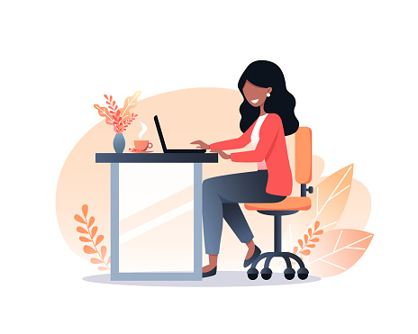 A young woman with dark hair works on a laptop. Work from home. Freelance. Stay at home. Autumn interior workplace. Vector flat illustration.