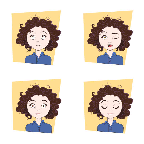 young woman with different facial emotions set of girl face expressions - kręcone włosy stock illustrations