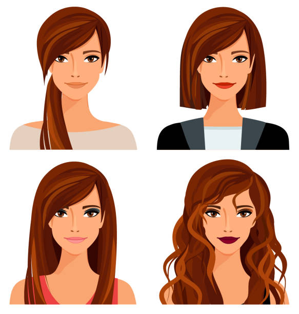 bildbanksillustrationer, clip art samt tecknat material och ikoner med ung kvinna med olika frisyrer och smink. vektorillustration - unga kvinnor