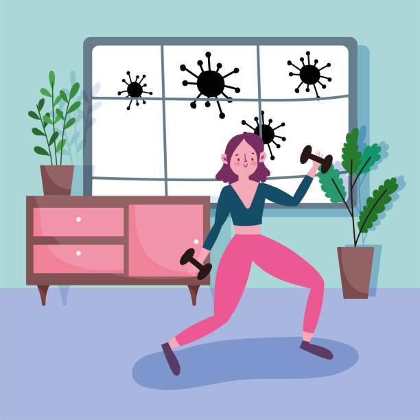 ilustrações, clipart, desenhos animados e ícones de jovem mulher com halteres academia em atividade de quarto exercício esporte em casa copvid 19 pandemia - salas de aula