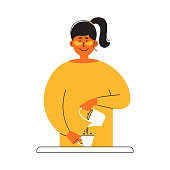 Happy girl pours coffee from brewing teapot into cup. Morning routine. Young woman in yellow dress and eye patches on face drinking tea. Self care, slow life, mother time. Relax vector illustration
