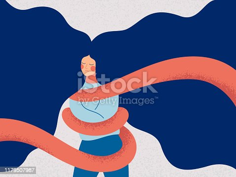 A young woman with flying hair is tied with a rope. Concepts of restrictions on the ability of women in society. Human character illustration