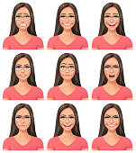 Vector illustration of a young woman with glasses with nine different facial expressions: anxious, smiling, laughing, neutral, stunned/surprised, screaming/ furious,  angry, talking and mean. Portraits perfectly match each other and can be easily used for facial animation by simply putting them in layers on top of each other.