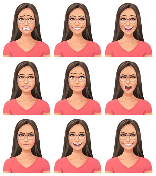ilustraciones, imágenes clip art, dibujos animados e iconos de stock de mujer joven con gafas - facial expresiones - cabello largo