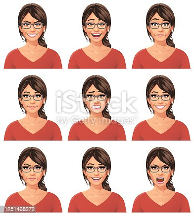 Vector illustration of a young woman with glasses with nine different facial expressions: mean/smirking, laughing, stunned/surprised, neutral, anxious, smiling, angry, talking, furious/shouting. Portraits perfectly match each other and can be easily used for facial animation by putting them in layers on top of each other.