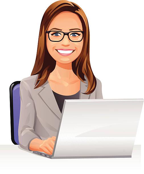 ilustraciones, imágenes clip art, dibujos animados e iconos de stock de mujer joven con gafas usando una computadora portátil en la habitación - cabello castaño