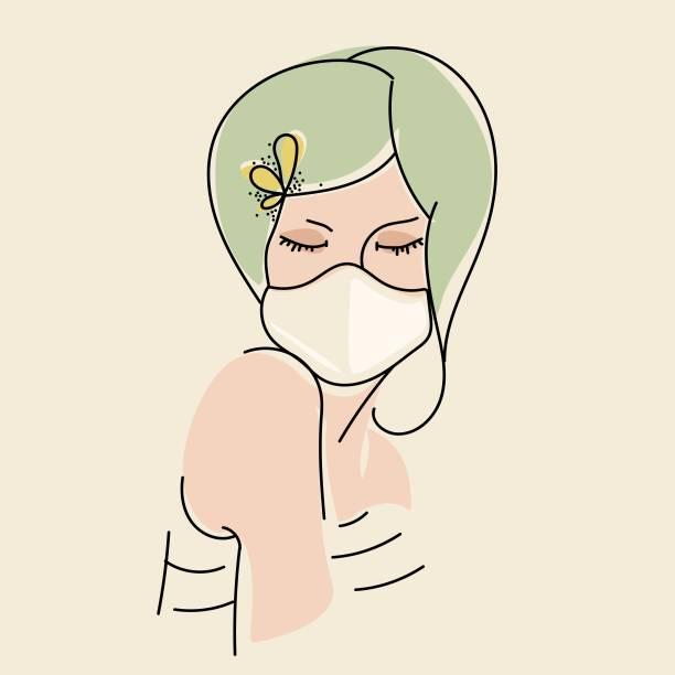 ilustrações de stock, clip art, desenhos animados e ícones de young woman with green hair wearing a protection medical mask. covid-19, coronavirus awareness.prevention against virus, flu, pollution. - covid hair
