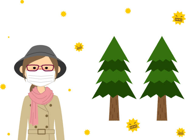 Young woman with hay fever vector art illustration