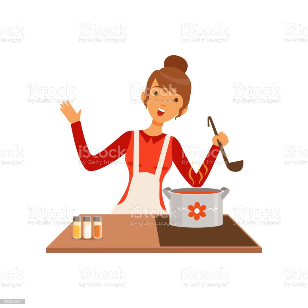 Young woman with ladle cooking soup, housewife girl in the kitchen flat vector Illustration vector art illustration