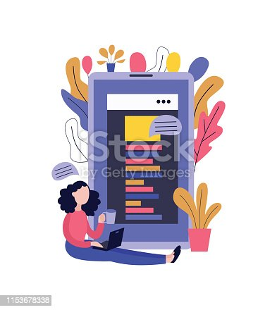 670150938 istock photo Young woman with laptop and cup of drink sitting on floor and typing comments in blog or chat. 1153678338