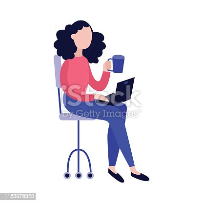 istock Young woman with laptop and cup of hot drink sitting in chair. 1153678323