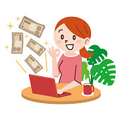Young woman with laptop and money in great online business