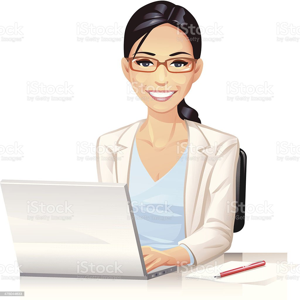 Young Woman With Laptop vector art illustration