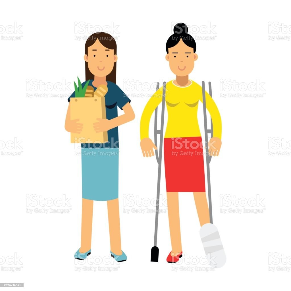 Young woman with leg in a plaster using crutches shopping with her friend colorful vector Illustration