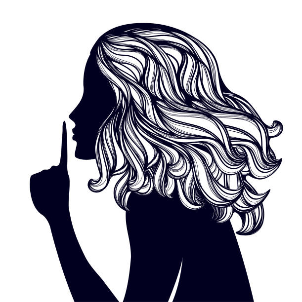 illustrazioni stock, clip art, cartoni animati e icone di tendenza di young woman with long, curly hair, making the silence sign with the finger on lips.vector illustration. - silenzio