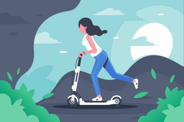 young woman with long hair on electronic scooter. - в пути stock illustrations
