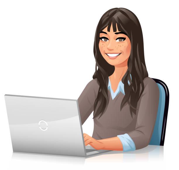illustrations, cliparts, dessins animés et icônes de jeune femme avec le long cheveu travaillant sur l'ordinateur portatif - femme tache de rousseur