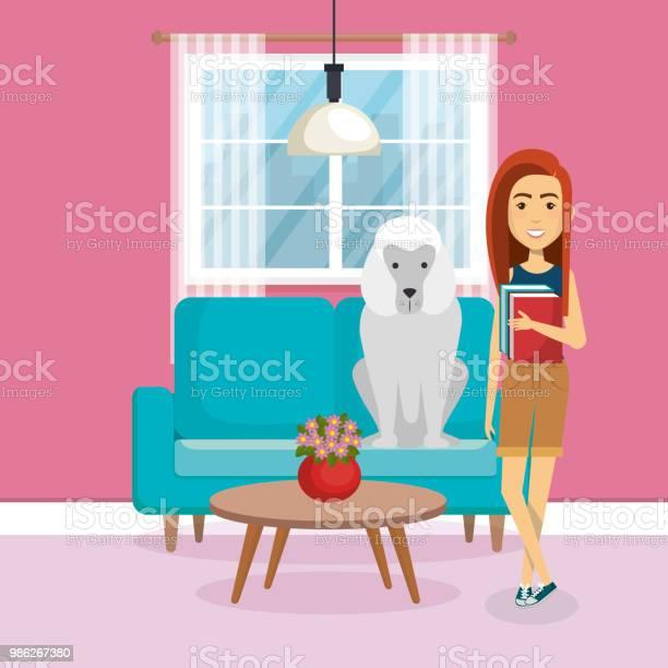 Young woman with mascot in the house vector id986267380?b=1&k=6&m=986267380&s=612x612&h=kmqulsh0c4llws5emxyxg1olsfn1wm3egnea1ug suu=