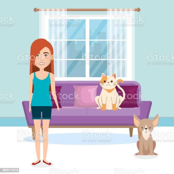 Young woman with mascot in the house vector id986270318?b=1&k=6&m=986270318&s=612x612&h=ygqbojj6qq 22t3ckakfnaawsbyju60mnbl00fpakou=
