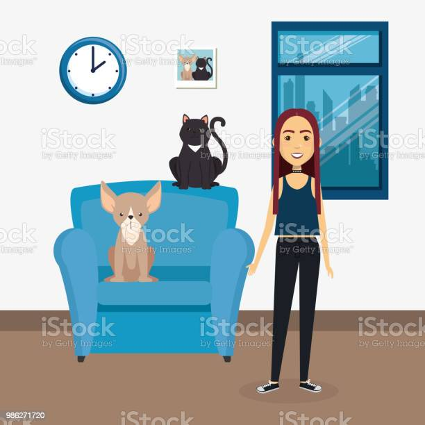 Young woman with mascot in the house vector id986271720?b=1&k=6&m=986271720&s=612x612&h=gos349f60neifzaul8xlg8djp4t9mwxaebitzpkjv28=