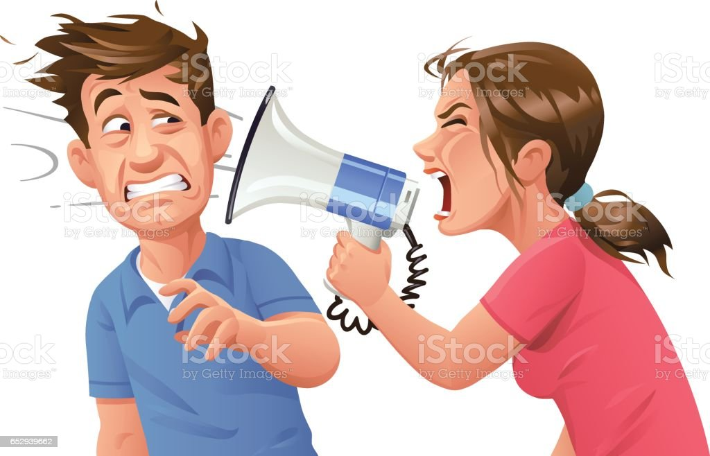 Young woman With Megaphone Screaming At Man vector art illustration