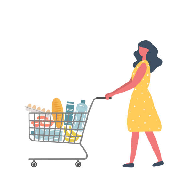 Young woman with shopping cart full of food and drinks vector art illustration